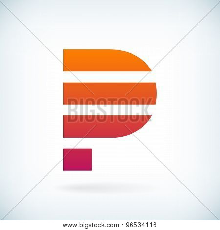 Stripes Letter P Icon Design Element Template