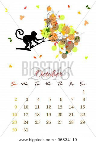 Calendar Sheet For 2016 October With Monkey On Tree Branch