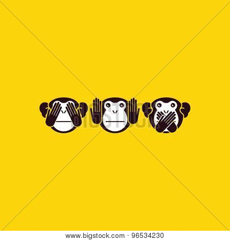 See no Evil, Hear no Evil, Speak no Evil. Three monkeys. Vector illustration