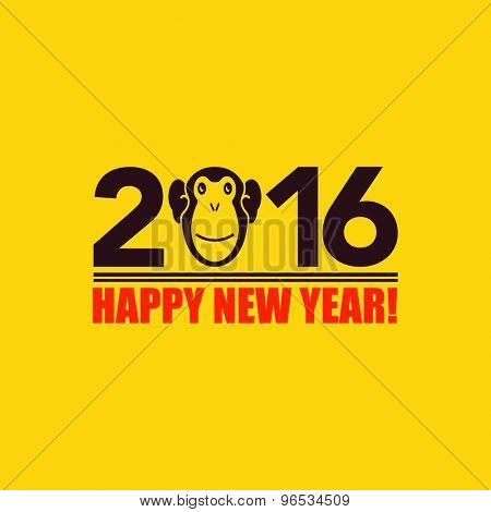 Happy new year 2016. Year Of The Monkey. Vector Illustration
