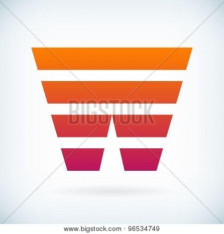Stripes Letter W Icon Design Element Template