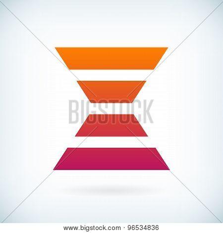 Stripes Letter X Icon Design Element Template