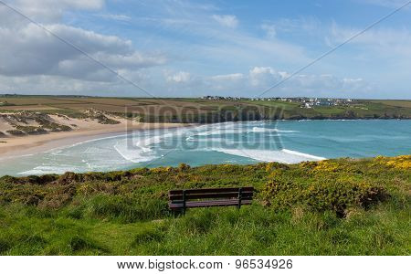 Crantock bay and beach North Cornwall England UK near Newquay with waves in spring
