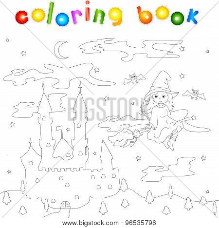 Pretty Friendly Witch Flying On A Broomstick In The Night Sky. Old Castle Standing On A Hill. Colori