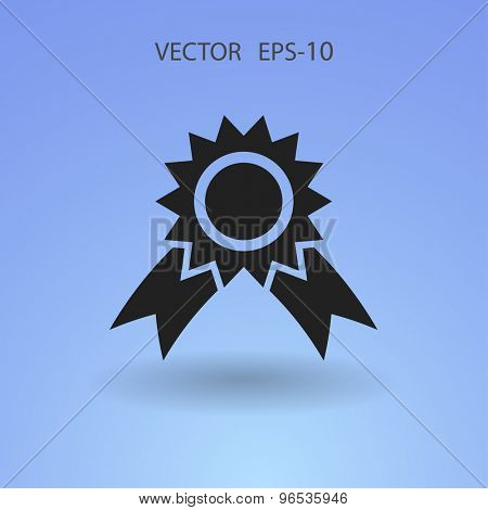 Flat long shadow Award icon, vector illustration