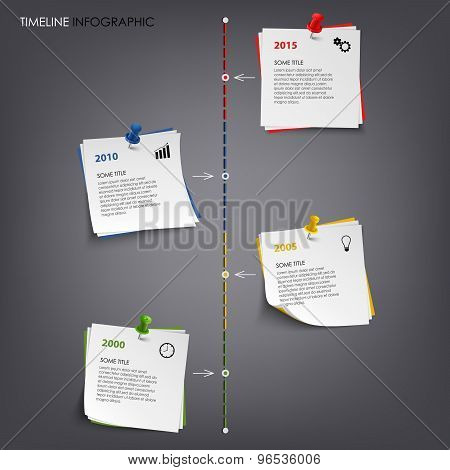 Time Line Info Graphic With Note Colored Paper Template