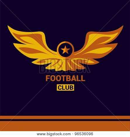 Vector logo template soccer football team. Wings of a bird, an eagle in heraldic style.