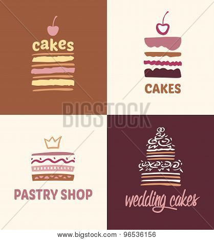 Set of patterns vector logos cakes.