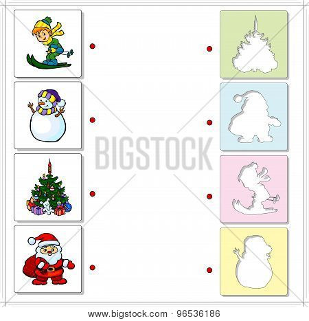 Boy Skiing, Snowman, Christmas Fir And Santa Claus. Educational Game For Kids