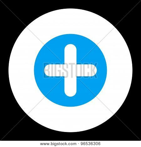 Create flat blue and white colors round button