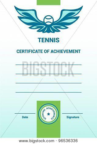 Vector Template Certificate, Diploma, tennis