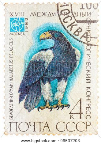 Stamp printed in USSR Russia shows a bird Haliaeetus pelagitus