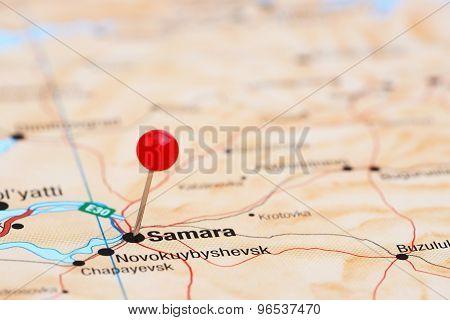Samara pinned on a map of europe