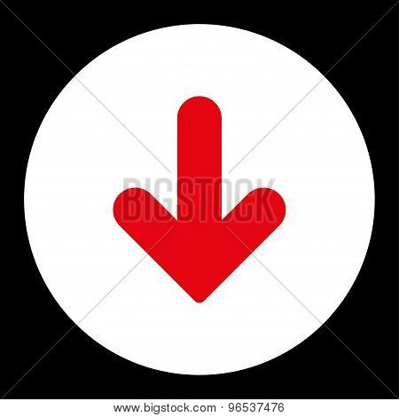 Arrow Down flat red and white colors round button
