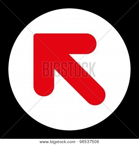 Arrow Up Left flat red and white colors round button