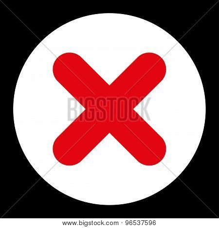 Cancel flat red and white colors round button