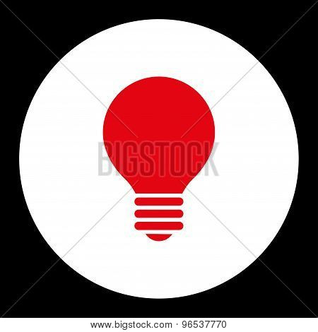 Electric Bulb flat red and white colors round button