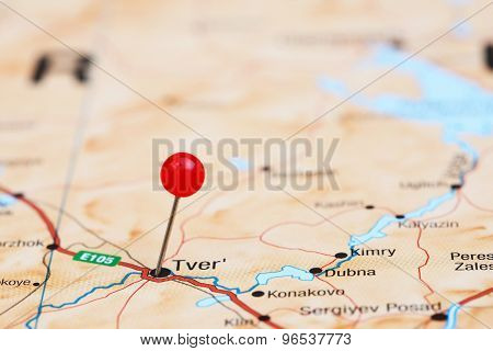 Tver pinned on a map of europe