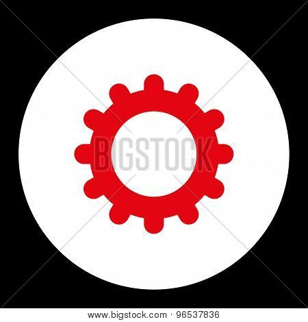 Gear flat red and white colors round button