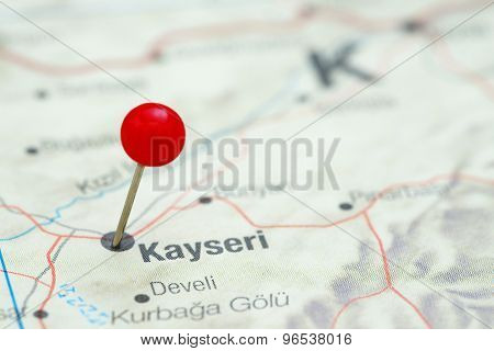 Kayseri pinned on a map of europe
