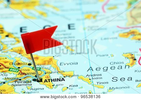 Athens pinned on a map of europe
