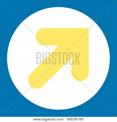 Arrow Up Right flat yellow and white colors round button