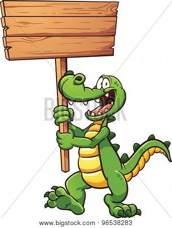 Cartoon crocodile with a wooden sign. Vector clip art illustration with simple gradients. All in a single layer.