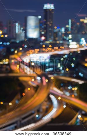 Abstract blurred bokeh road intersection night view