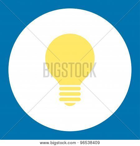 Electric Bulb flat yellow and white colors round button