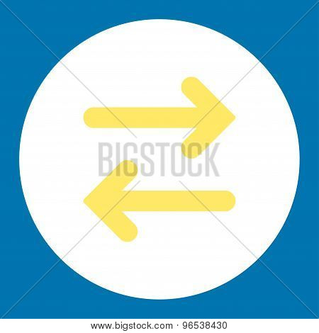 Flip Horizontal flat yellow and white colors round button