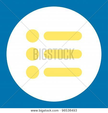 Items flat yellow and white colors round button