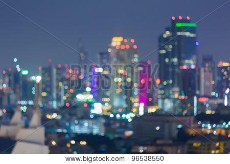 Blurred bokeh city skyline lights night view