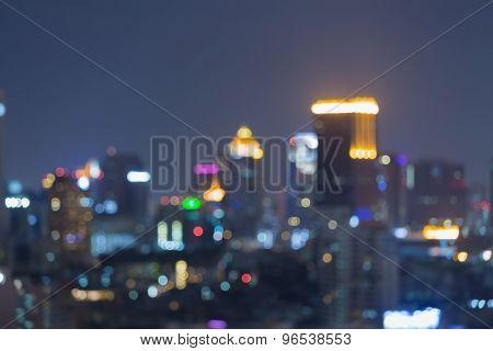 Blurred bokeh skyline city lights night view
