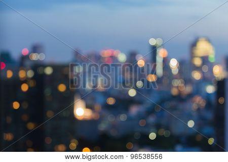 Blurred bokeh city lights night view