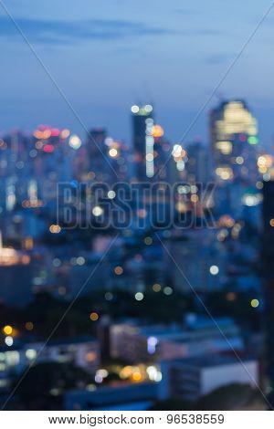 Bokeh city lights night view