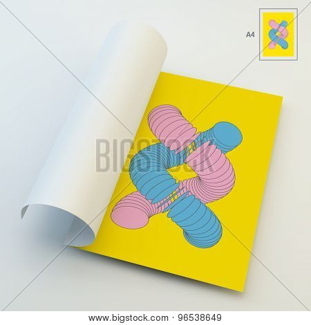 A4 Business Blank. Vector Illustration Of Dna Structure In 3d. Can Be Used For Advertising, Marketing And Presentation.