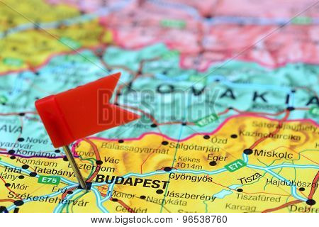 Budapest pinned on a map of europe