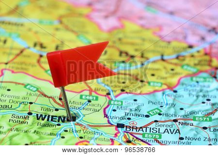 Vienna pinned on a map of europe