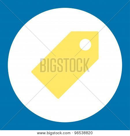 Tag flat yellow and white colors round button
