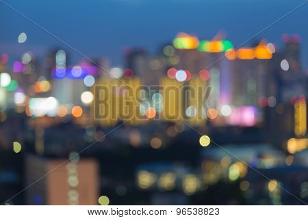 Blurred of big city lights at night, abstract blurred bokeh background