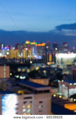 Bokeh lights view of city night