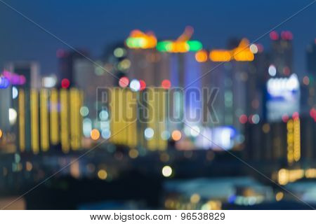 Blurred of city lights at night, abstract blurred bokeh background
