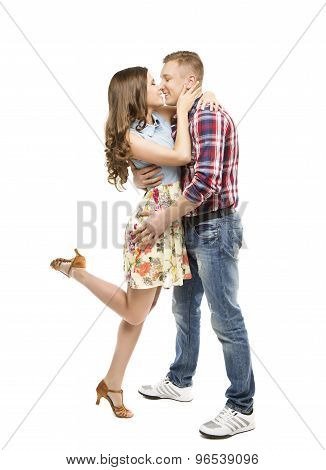 Young Couple Portrait, Kissing In Love, Woman And Man Dating, Happy Girl Hugging Boy Friend