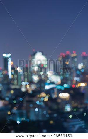 Blurred of city light at night