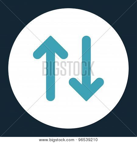 Flip flat blue and white colors round button