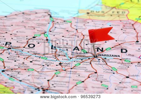 Warsaw pinned on a map of europe