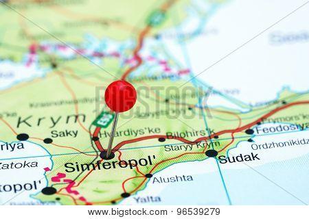 Simferopol pinned on a map of europe