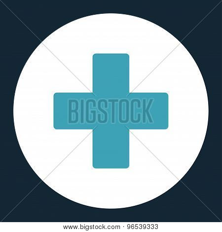Plus flat blue and white colors round button