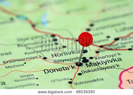 Donetsk pinned on a map of europe