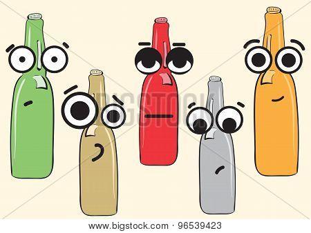 Big-eyed beer bottles